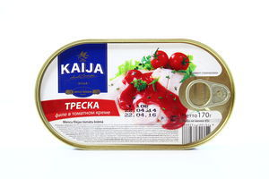 Треска филе в томатном креме Kaija ж/б ключ 170г