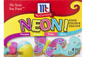 McCormick Neon! Food Color & Egg Dye - 4 CT
