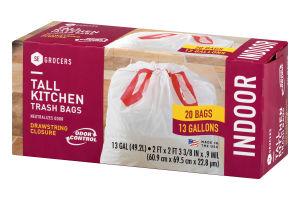 se grocers tall kitchen trash bags drawstring closure indoor 20 ct - Tall Kitchen Trash Bags