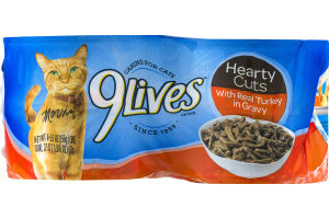 9Lives Cat Food Hearty Cuts With Real Turkey In Gravy - 4 CT