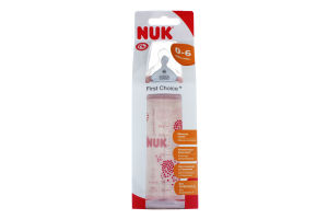 Бутылочка NUK First Choice, 300 мл + соска NUK, 1 р. (силикон)