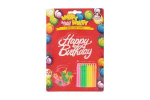 Свічки для торту неонові Happy Party Помічниця 20шт