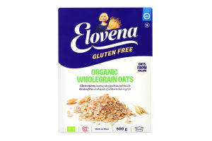 Пластівці вівсяні органічні з цільного зерна без глютену Elovena к/у 500г