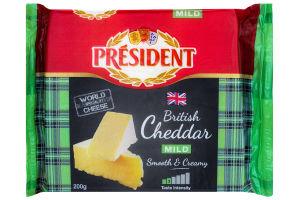 Сыр 48% твердый Молодой Cheddar President м/у 200г