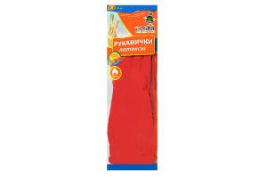Перчатки латексные с длинным манжетом красный размер S Добра Господарочка 1пара