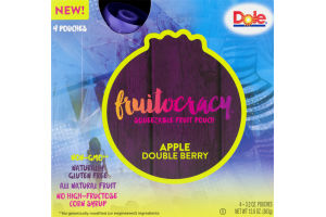 Dole Fruitocracy Squeezable Fruit Pouch Apple Double Berry
