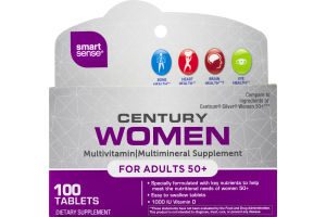 Smart Sense Century Women Adults 50+ Multivitamin/Multimineral Supplement Tablets - 100 CT