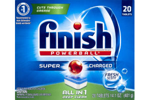Finish Powerball Super Charged All In 1 Deep Clean Fresh - 20 CT