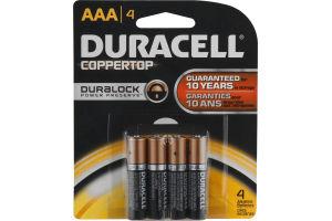 Duracell Coppertop Alkaline Batteries AAA - 4 CT