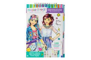 Блокнот для дітей від 8років з трафаретами для створення модних колекцій №MR3203 Рожева мрія Make it Real 154шт