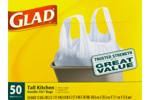 Glad Tall Kitchen Handle-Tie Bags - 50 CT