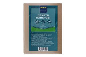 Пакеты бумажные крафт бурые 230х170х40мм Metro Professional 100шт