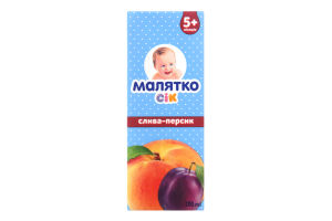 Сок для детей от 5-ти месяцев Слива-Персик Малятко т/п 200мл