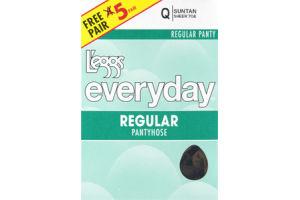 L'eggs Everyday Q Suntan Sheer Toe Regular Pantyhose - 5 CT