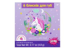 Набор игрушечный с 6 блесков для губ для детей от 8лет №MR32364 Волшебный единорог Make it Real 1шт