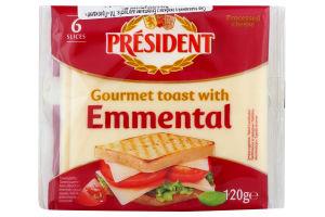 Сыр плавленый 40% для тостов Emmental President м/у 120г