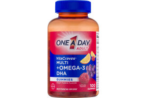 One A Day Adult VitaCraves Multi +Omega-3 DHA Gummies Fruit Punch - 100 CT