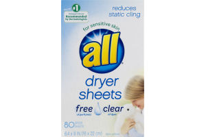 All Dryer Sheets Free & Clear - 80 CT