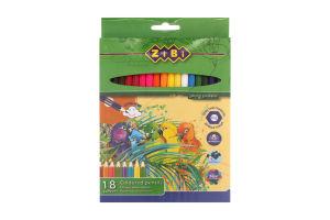 Олівці кольорові 18 кольорів №ZB.2411 Zibi 1шт
