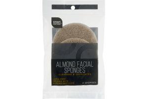 Smart Sense Almond Facial Sponges- 2 CT
