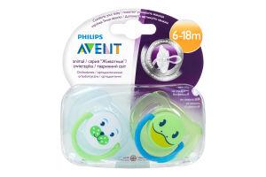 Пустышка ортодонтическая для детей от 6-ти до 18-ти месяцев №SCF182/14 Животные Avent 2шт