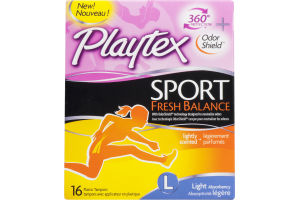 Playtex Plastic Tampons Sport Fresh Balance Light Lightly Scented - 16 CT