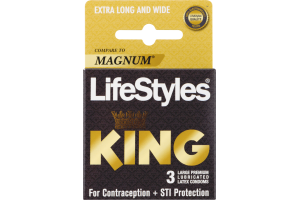 LifeStyles Kyng Lubricated Latex Condoms Large - 3 CT
