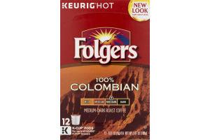 Folgers K-Cup Pods Medium-Dark Roast 100% Colombian - 12 CT