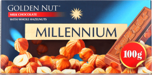 Шоколад молочний з цілими лісовими горіхами Golden nut Millennium к/у 100г