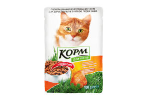 Корм для котов консервированный с курицей Повна Чаша м/у 100г