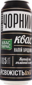 Напиток брожения пастеризованный сильногазированный Черный Квас Тарас ж/б 0.5л