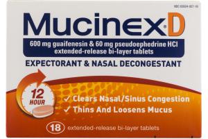 MucinexD Expectorant & Nasal Decongestant 12 Hour - 18 CT