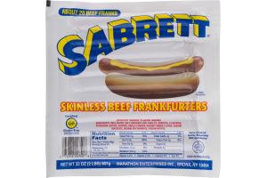 Sabrett Skinless Beef Frankfurters - 20 CT