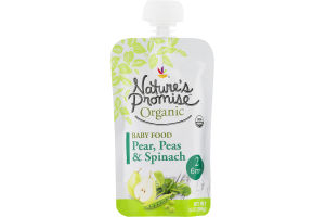 Nature's Promise Organic Baby Food Pear, Peas & Spinach 6m+