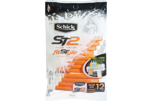 Schick ST2 Slim Twin FitStyle for Him Vitamin E Lanolin Aloe Value Size Razors - 12 CT