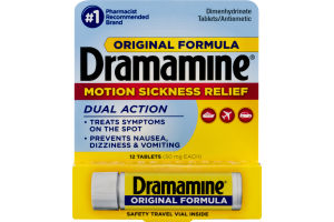 Dramamine Original Formula Dimenhydrinate Tablets Dual Action - 12 CT