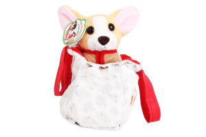 Игрушка для детей от 3лет №СО-0102 Собачка чихуахуа коричневая с сумочкой в платье Tigres 1шт