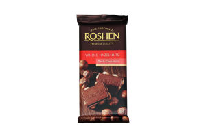 Шоколад Рошен чорний з цілими лісовими горіхами 90г