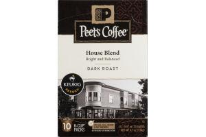 Peet's Coffee House Blend Dark Roast K-Cup Packs - 10 CT