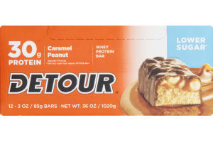 Detour 30g Protein Whey Protein Bar Lower Sugar Caramel Peanut - 12 CT