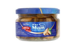 """Морепродукты в масле """"Своя лінія"""" 0,2 кг мясо мидий с пряностями, № 1, 2,4 кг, 12*0,2, Украина, термо"""