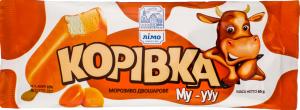 Морозиво 10% двошарове з ароматом біскоттіно та топленого молока в кондитерській молочній глазурі зі смаком карамелі Корівка Лімо м/у 65г