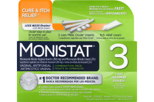 Monistat Cure & Itch Relief 3-Day Treatmeant Ovules - 3 CT