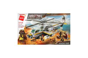 Конструктор для детей от 3лет №1719 Военный вертолет Qman 1шт