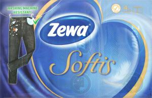 Хусточки паперові неароматизовані 21х21см 4-х шарові Softis Zewa 6х10шт