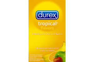 Durex Tropical Flavors Premium Lubricated Latex Condoms - 12 CT