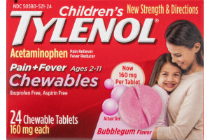 Children's Tylenol Pain + Fever Chewables Bubblegum - 24 CT