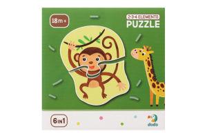 Пазл для детей от 18мес 2-3-4 элемента №300153 Дикие животные Dodo 1шт