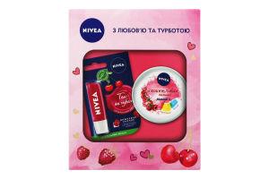 Набор крем увлажняющий Я кокетливая малинка Soft 100мл+бальзам для губ Вишневое сияние 5.5мл Nivea 1шт