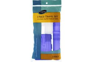 CareOne Bottle, Soap Dish, Toothbrush Holder 3 Piece Travel Set